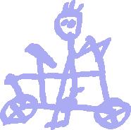 Gemaltes Bild: Radelnder Junge